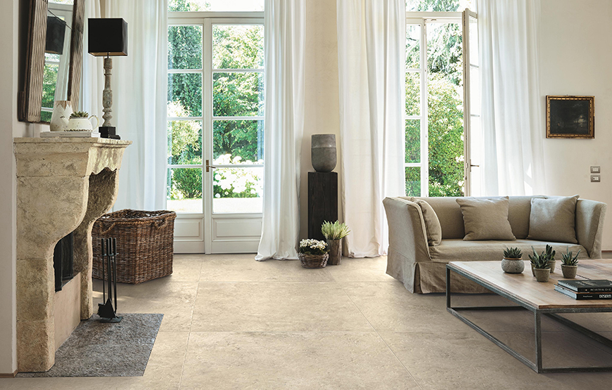 Aix 37.5x75. European ancient stone look porcelain tiles for walls and floors.