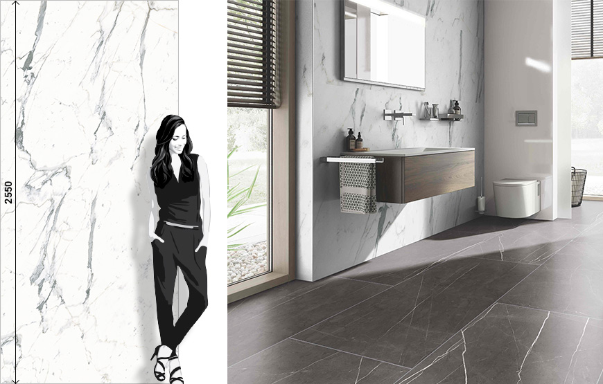 Lume 6x24 handmade cement effect glossy porcelain tiles collection.