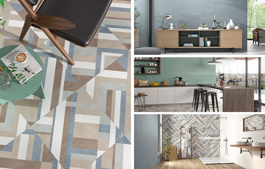 Impulse, Volia, Monet, Forma Mix. Mono-colour wall and floor tiles with 3D effect and patterned decors.