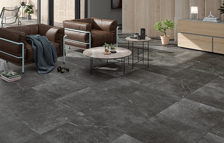 Kainos 90x90. Large format natural stone look porcelain tiles for residential and commercial projects.