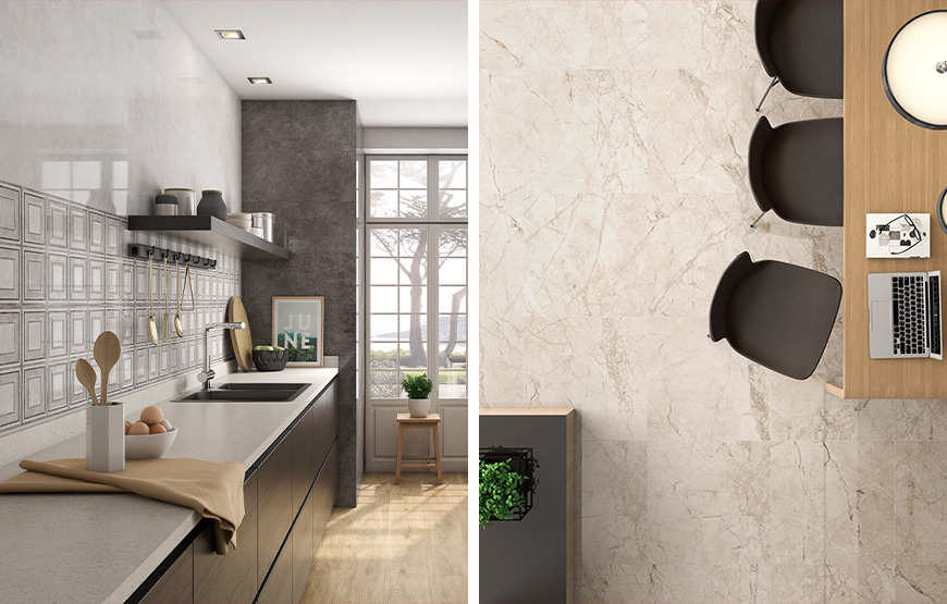 Marmi 30x90 Gales 60x60. Marble look high gloss wall and floor tiles for bathrooms and kitchens.