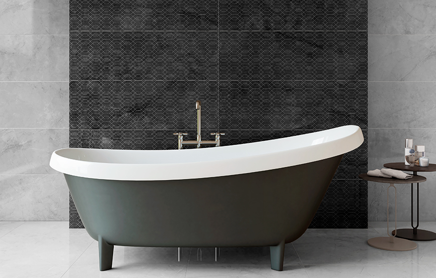 New product. Metissage. Large format high gloss finish wall and floor tiles. Eco Ceramic.