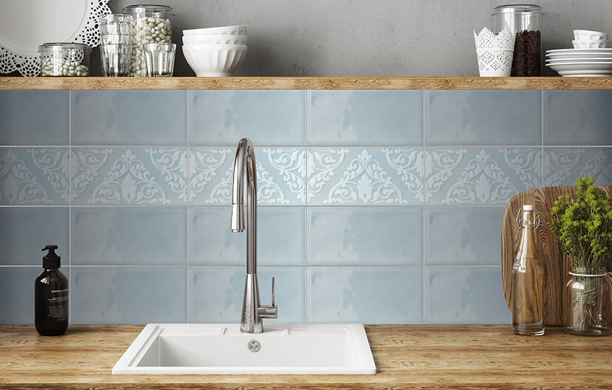Morris and Dahlia 12.5x25. Vintage style glossy tiles for bathroom and kitchen walls.