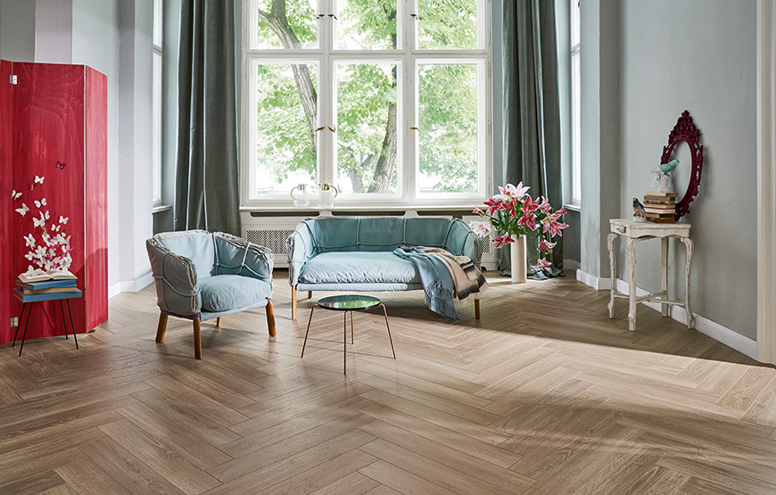 Parador Trendtime 3. 8mm herringbone laminate flooring.