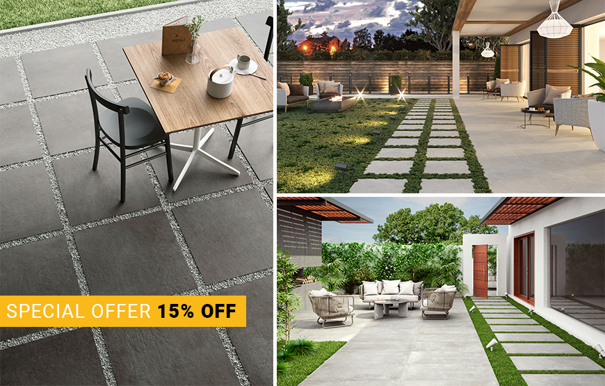 Special offer - 15% off 20mm porcelain paving tiles