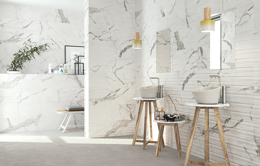 Statuario 30x90 60x60 large format white marble look bathroom wall and floor tiles with 3D effect decor