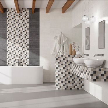 National Tile. Activ 25x40 / 45x45. Concrete look and patterned bathroom wall and floor tiles.