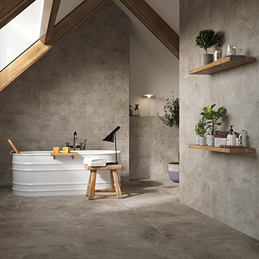 National Tile. Aix 37.5x75. Ancient stone look porcelain tiles for commercial projects.