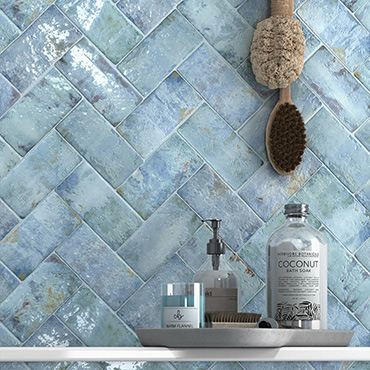 National Tile. Anjo 7x14. Monocolour vintage style small format gloss wall tiles.