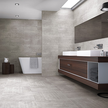National Tile. Basis and Groove 28x88 / 60x60. Concrete look large format tiles for bathroom walls and floors.