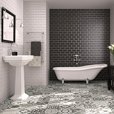National Tile. Biselado bevelled metro look wall tiles for Victorian style bathrooms.