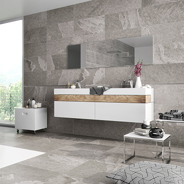 National Tile. Black Peak 45x90. Stone look structured porcelain tiles for bathroom walls and floors.