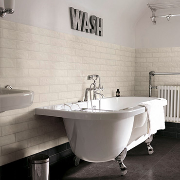 National Tile. Bricco 7x28. Stone look and brick shape porcelain tiles for bathroom walls and floors.
