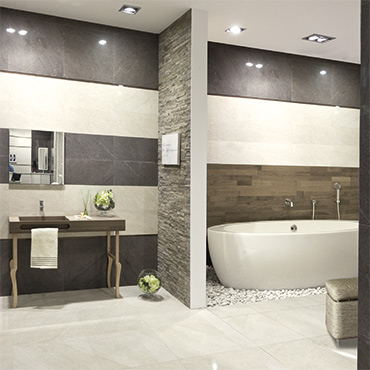 National Tile. Brooklyn Lux 60x60. Stone look semi-polished porcelain tiles for bathroom walls and floors.
