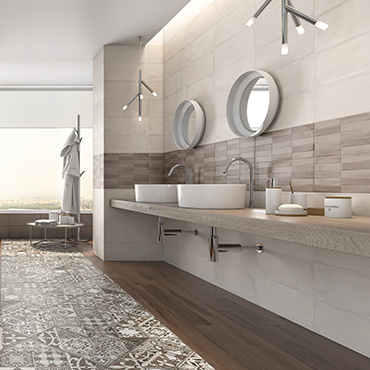 National Tile. Camargue 20x50. Monocolour satin finish spatulated cement effect tiles with mosaic decor for bathroom walls.