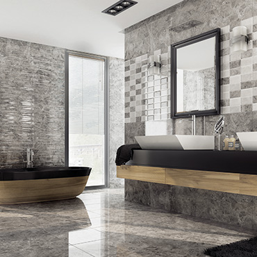 National Tile. Compact 25x60 / 45x45. High gloss marble look tiles for bathroom walls and floors.