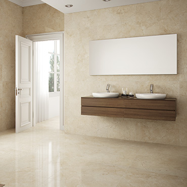 National Tile. Crema Marfil 60x60. Marble look polished and matt finish porcelain tiles for bathroom walls and floors.
