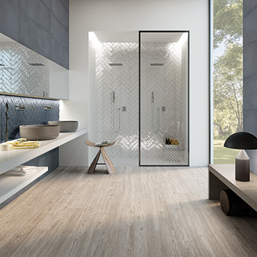 National Tile. Cromat One multi sizes concrete look monocolour tiles with embossed decors for bathroom walls and floors.