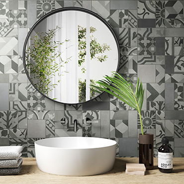 National Tile. D_Segni Blend. Handmade cement effect porcelain tiles with patterned decors for bathroom walls and floors.