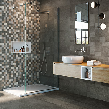National Tile. Discovery 45x90. Semi-polished limestone look porcelain tiles for bathroom walls and floors.
