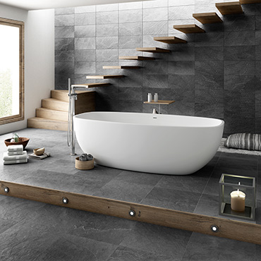 National Tile. Dorset 25x50 / 45x45. Structured stone effect tiles with 3D decors for bathroom walls and floors.