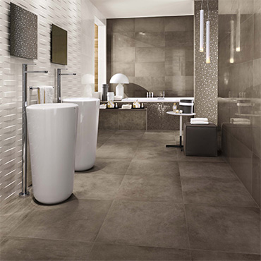 National Tile. Dwell 45x90. Large format washed concrete look porcelain tiles for bathroom walls and floors.