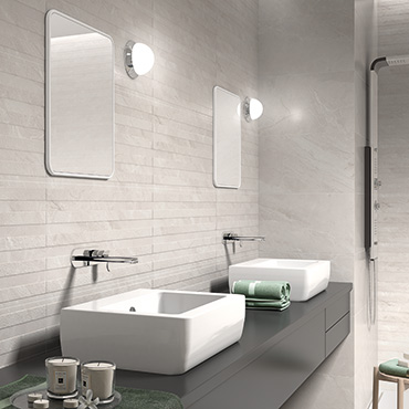 National Tile. Ersa 36x80 / 45x45. Large format marble look tiles with 3D effect pattern in lined or striped decor for bathroom walls and floors.