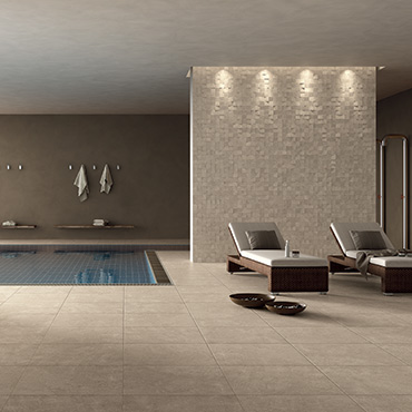 National Tile. Grand Place. Modular stone look structured porcelain tiles for bathroom walls and floors.