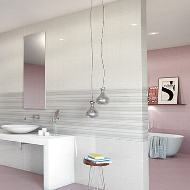 National Tile. Grenadines 25x55 / 33x33. Vivid monocolour high gloss tiles with metallic effect decors for bathroom walls and floors.