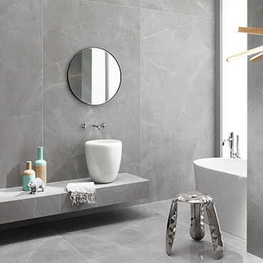 National Tile. Grey Pulpis 60x120. Luxury extra large format marble look polished and satin finish 6mm porcelain tiles for bathroom walls and floors.