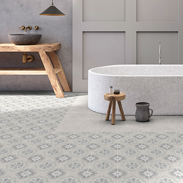 National Tile. Hamptons 15x15. Vintage look porcelain tiles with a patterned decor for bathroom walls and floors.