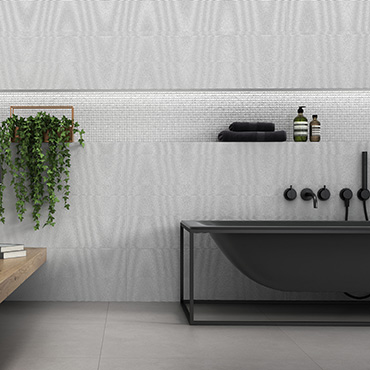 National Tile. Hardy 25x75. Structured stone look ceramic tiles with 3D wavy and mosaic effect decors for bathroom walls.