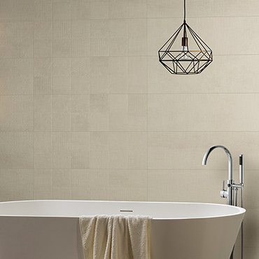 National Tile. Hit 30x90. Large format stone look ceramic tiles with geometric pattern decors for bathroom walls.