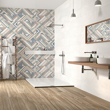 National Tile. Impulse, Volia, Monet, Forma. Mono-colour look wall and floor tiles with 3D effect and patterned decors.