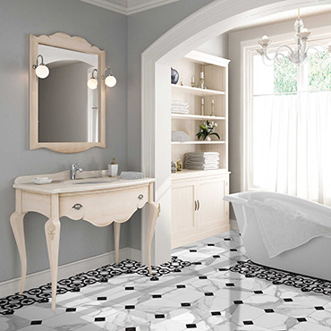 National Tile. Jonico 22x22. Medium size white marble look porcelain tiles with vintage style floral and geometric pattern decors for bathroom walls and floors.
