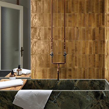 National Tile. Lume 6x24. Handmade cement effect gloss tiles for bathroom walls and floors.