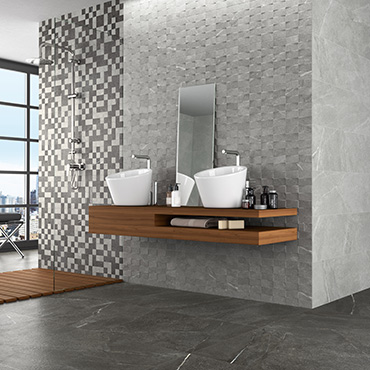 National Tile. Madison and Top 30x60 / 60x60. Stone look porcelain tiles with 3D mosaic effect decors for bathroom walls and floors.