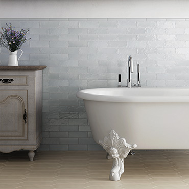 National Tile. Mallorca 10x10 / 6.5x20. Extruded cement, handmade and painted effect wall tiles for vintage style bathrooms.