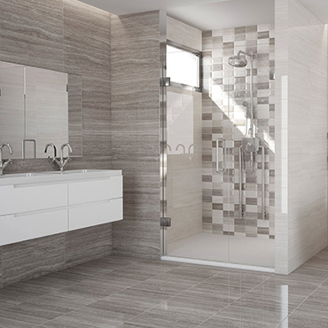 National Tile. Marmara 25x60 / 45x45. High gloss stone look tiles with 3D mosaic effect decors for bathroom walls and floors.