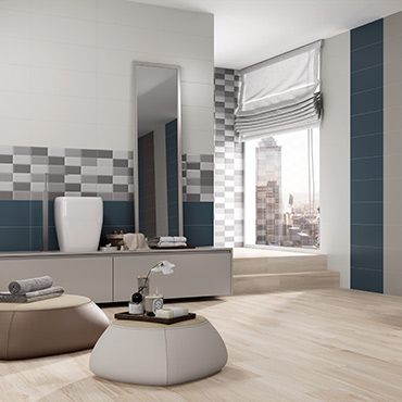 National Tile. Marna and Standard. Monocolour satin finish tiles for modern style bathroom walls and floors.