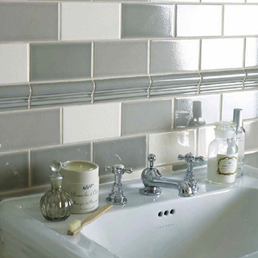 National Tile. Metro 7.5x15. Monocolour metro look crackle glaze effect wall tiles for Victorian style bathrooms.