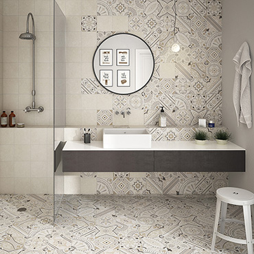 National Tile. Micro 20x20. Budget marble terrazzo look porcelain tiles with patterned decors for bathroom walls and floors.