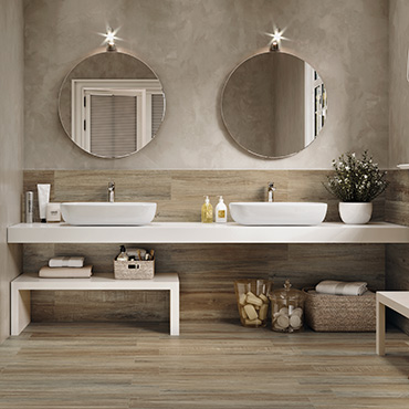 National Tile. Mistral and Timber 22x84. Rustic wood look porcelain tiles for bathroom walls and floors.