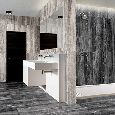 National Tile. Moonlight Lux multi format marble look semi-polished porcelain tiles for bathroom walls and floors.