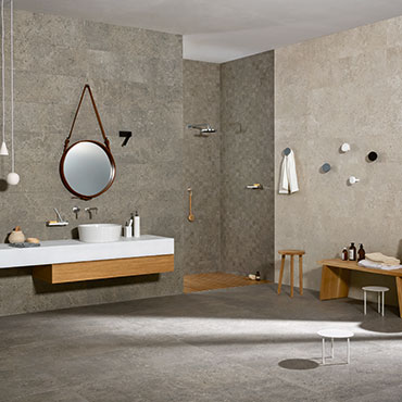 National Tile. Mystone Gris Fleury 60x60. Authentic stone look natural finish porcelain tiles for bathroom walls and floors.