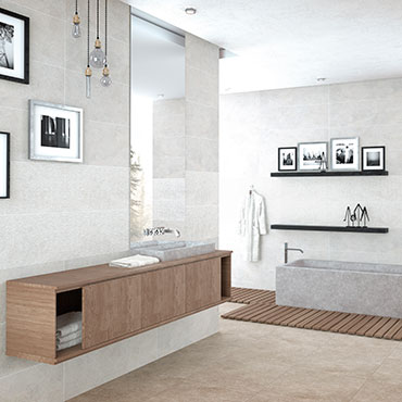 National Tile. Neolith 30x60 / 60x60. Stone look tiles with structured relief decors for bathroom walls and floors.