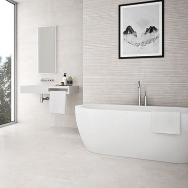 National Tile. Neutra - multi formats concrete look architectural tiles for bathroom walls and floors.