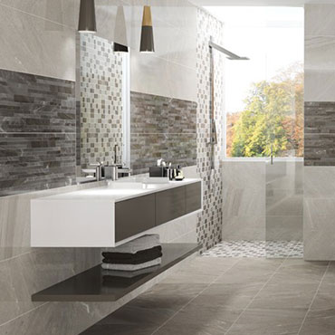 National Tile. New Age. High gloss natural stone look tiles for bathroom walls and floors.