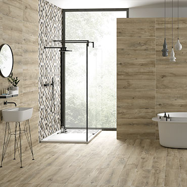 National Tile. Norden 22x84. Natural wood look porcelain tiles for bathroom walls and floors.