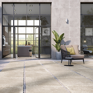 National Tile. Olympo Sand 61x61 / 76x76. Stone look 20mm porcelain paving tiles for residential and commercial outdoor areas.